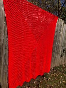 "Vintage Handmade Crochet Blanket Afghan Christmas Red 72""X 70"""