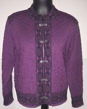Womens Ski Sweater SKJAEVELAND Nordic Wool Clasp Cardigan size XL purple black