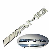 Logo AMG Mercedes Sticker Chromé 3D Emblème Insigne Relief 19CM X 2CM