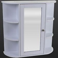 White Wooden Indoor Wall Mountable Bathroom Cabinet With Shelves and Mirror Door