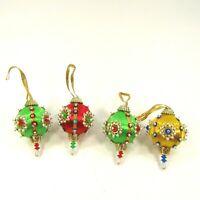 "Vintage Handmade Jeweled Beaded Christmas Ornaments Small 2.75"" long + loop"