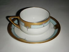PULS CHINA PORCELAIN CUP & SAUCER ANTOINETTE PINK GEOMETRIC GOLD TRIM CZECH BLUE