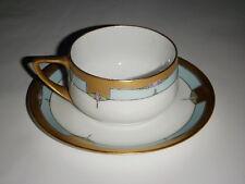 PULS CHINA PORCELAIN CUP & SAUCER ANTOINETTE PINK GEOMETRIC GOLD TRIM CZECH BLUE