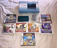 Nintendo 3DS Aqua Blue Console Bundle With Box 7 Games Lot Pokemon Mario TESTED