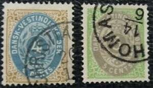 nystamps US Danish West Indies Stamp # 8,18 Used $40   L16x1062