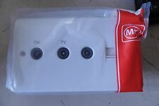 MK K3562 WHI 2G TV /FM DIPLEXER WITH SINGLE TV & TELEPHONE SECONDARY OUTLET