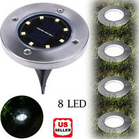 1/4/8PK 8 LED Solar Power Buried Light Under Ground Lamp Outdoor Way Garden Deck