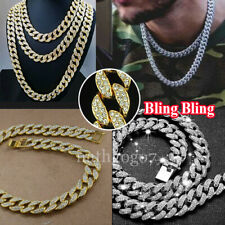 Mens Iced Out Diamond Thick Miami Cuban Link Chain Necklace Hip Hop Jewelry Plat