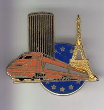 RARE PINS PIN'S .. TRAIN RAILWAYS SNCF TGV MONTPARNASSE TOUR EIFFEL BIG 3D ~DG