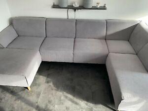 Sofa Couch Wohnlandschaft Federkern und Keder skandinav. Design grau wie neu