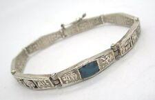 Cast Sterling Silver w Turquoise Bracelet w Aztec Symbols 17.1 grams