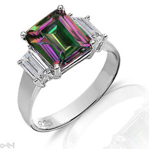 Large Emerald Mystic Rainbow Topaz Side Baguette Sterling Silver Ring