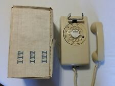 Classic Beige ITT 554 Rotary Dial Wall Phone Telephone WORKS With Box!!