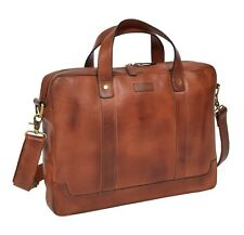 Real Soft Leather Satchel VINTAGE TAN Briefcase Top Quality Business Office Bag