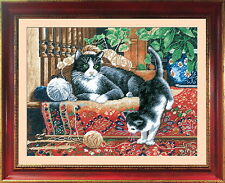 Cats On The Carpet - Counted Cross Stitch Kit with Color Symbolic Scheme bst:467