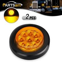 "2x Amber 2"" Round 9 LED Side Marker Clearance Light Kit / Grommet / Wire Plug"