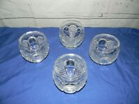 "Vintage Pressed Glass Clear Round Tumblers Rocks Glasses 3.5"" Tall Lot of 4"