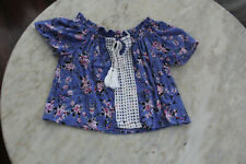 🐌 SIZE 7 MANGO PURPLE FLORAL VISCOSE BLOUSE TOP GIRLS BEST BUY KIDS POST 5+FREE