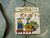 ANTIQUE CHINESE WHITE CLOISONNE ENAMEL BOX COIN PURSE POUCH WITH OPENING STRING