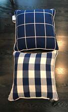 "Ralph Lauren Home Throw Buffalo Plaid 20""x20"" pillow new cotton Blue Cream Polo"