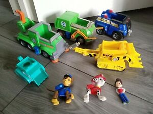 Paw Patrol Pups And Vehicles Toys Bundle , chase Marshall Ryder cars etc