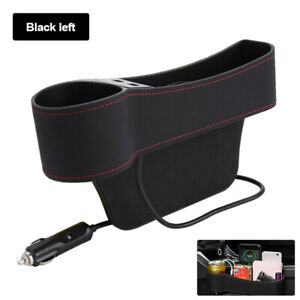 Left Car Accessories Seat Slit Pocket Storage Organizer Box 2 USB Port Universal