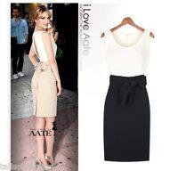 Split Back Wedding Evening Party Dress White Top w/ Black or Apricot Skirt 6001