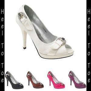 Ladies Satin Peep Toe Wedding Platform Heels Shoes Black Brown Diamanté