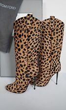$2790 NIB TOM FORD LEOPARD Calf Hair Gunmetal Heel Sexy Stiletto Boots 37 US-7