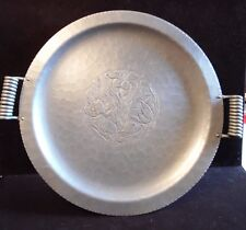 "Vintage Keystoneware  Hammered Aluminum Serving Tray Floral With Butterfly 16""D"