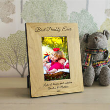 Best Daddy Ever Wooden Photo Frame 6x4 or 7x5 - Personalised Fathers Day Gift