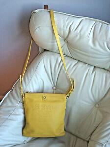Bright Yellow Bulgari Bvlgari Casa Fondata Leather Crossbody Handbag Purse ITALY