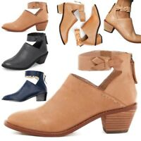 Women Zip Mid Block Heel Ankle Boots Ladies Pointed Toe Chunky Boot Shoes Black