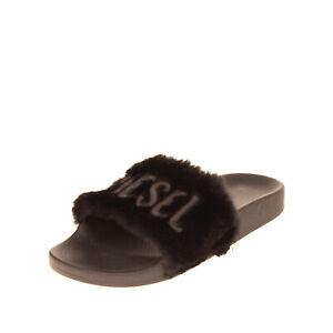 DIESEL SA-VALLAR R Faux Fur Slide Sandals EU39-40 UK6-6.5 US8.5-9 Made in Italy