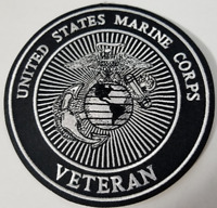 "UNITED STATES MARINE CORPS  ""VETERAN""   5 INCH PATCH  SEWN / IRON ON"