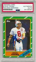 💥1986 Topps STEVE YOUNG HOF🏆 Autographed ROOKIE card #374 PSA/DNA Certified💥