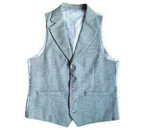 "Moss London Green Herringbone Waistcoat Collared Wool Blend Size S 38"" Slim Fit"
