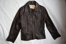 Vtg Dark Brown Leather LLOYD ELLIOT'S Country Club Moto Lined Jacket Small
