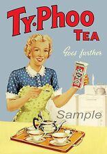 VINTAGE ty-phoo Tea Pubblicità A4 poster stampa