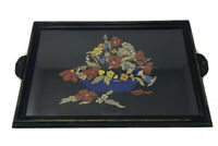 Vintage Serving Tray With Floral Design And Glass Top With Wood And Metal Handle