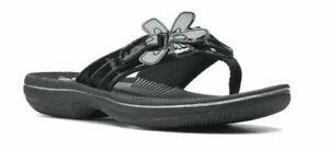 Clarks Women's Brinkley Jazz Flip-Flop / Black Synthetic Patent / size 5