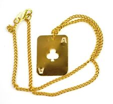 EE.UU. 1960er HIPPIE Collar cadena color Oro jugando a las cartas Colgante Cruz