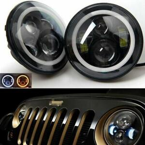 "1 Pair 7"" LED Headlight Round HI/LO Halo Sealed Beam For Jeep Patriot Liberty"