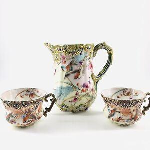Antique Nippon Moriage Floral Hand Painted Bird Porcelain Milk Pitcher Teacups