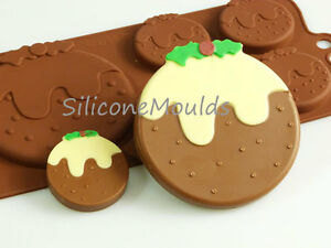 4+1 Christmas Pudding Silicone Mould Chocolate Candy Cake Resin Wax Melt Soap