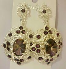 Artisan Edwardian Victorian style chunky lrg Czech glass dangling drop earrings