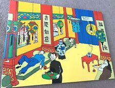 More details for tintin in opium den: blue lotus: ltd laquer frame print/plaque 40x30cm by herge
