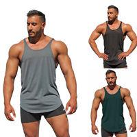 Men Sport Vest Sleeveless Muscle Fitness Gym Loose Bodybuilding Tops Tee  M- IO