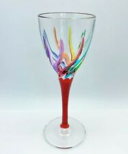 GLASSWARE - VENETIAN CARNEVALE CORDIAL GLASS - RED - HAND PAINTED CRYSTAL