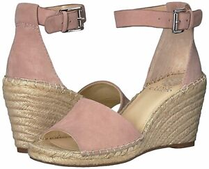 NEW Vince Camuto Leera SUEDE Espadrille Wedge Sandal SIZE 8.5 W blush PINK NWOB